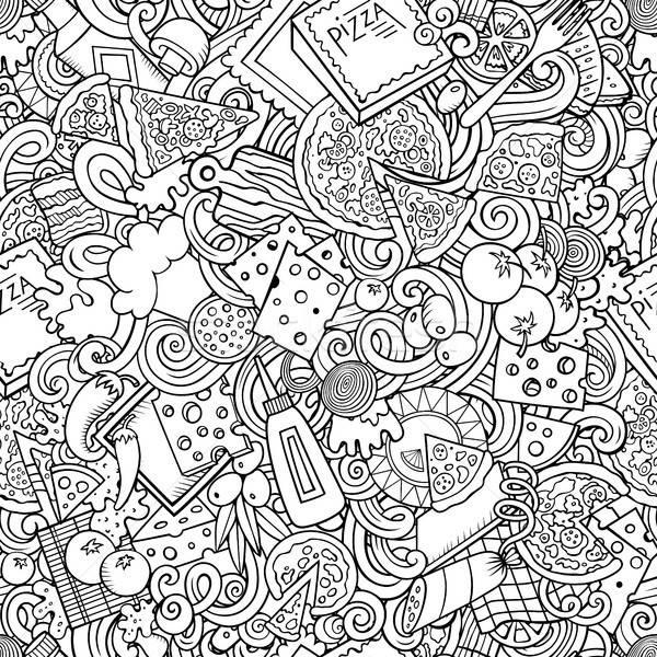 Stok fotoğraf: Karikatür · sevimli · karalamalar · pizza