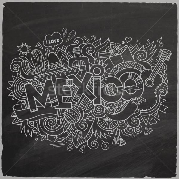 Mexico doodles elements chalkboard background Stock photo © balabolka