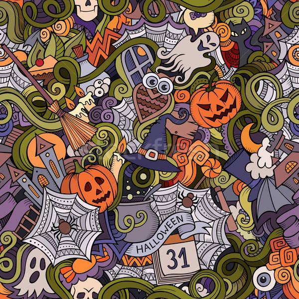 Foto stock: Desenho · animado · vetor · halloween · símbolos · comida