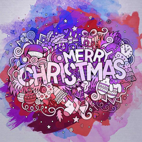 Сток-фото: веселый · Рождества · стороны · Элементы · акварель