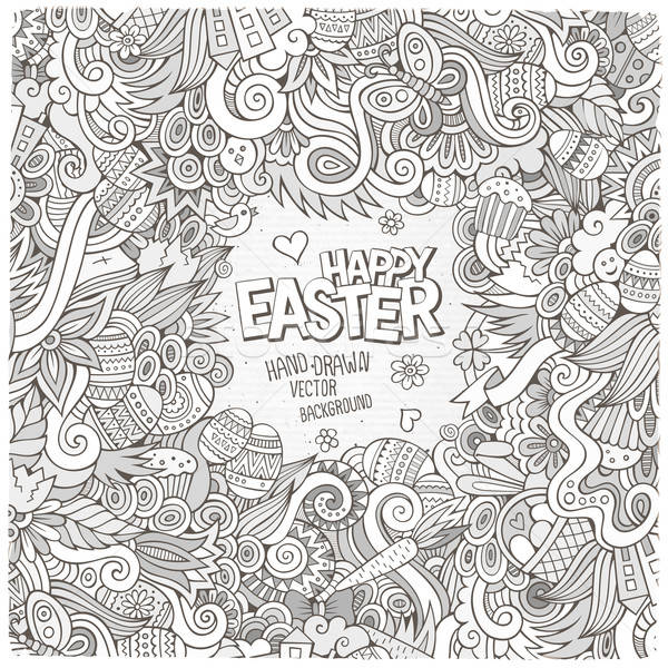 Stock photo: Doodles abstract decorative Easter vector frame
