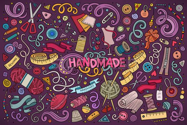 Garabato Cartoon establecer hecho a mano objeto colorido Foto stock © balabolka