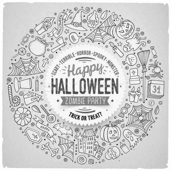 Photo stock: Cadre · halloween · cartoon · objets · symboles · ligne