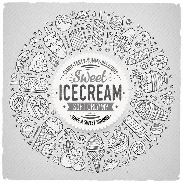 Set of Ice Cream cartoon doodle objects, symbols and items Stock photo © balabolka