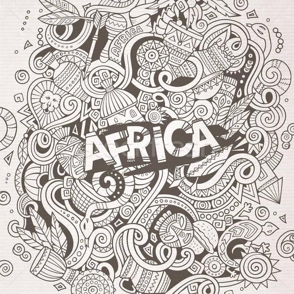 Cartoon cute bazgroły Afryki ilustracja Zdjęcia stock © balabolka