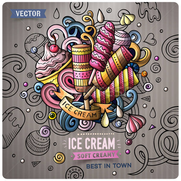 Ice Cream cartoon vector doodle illustration Stock photo © balabolka