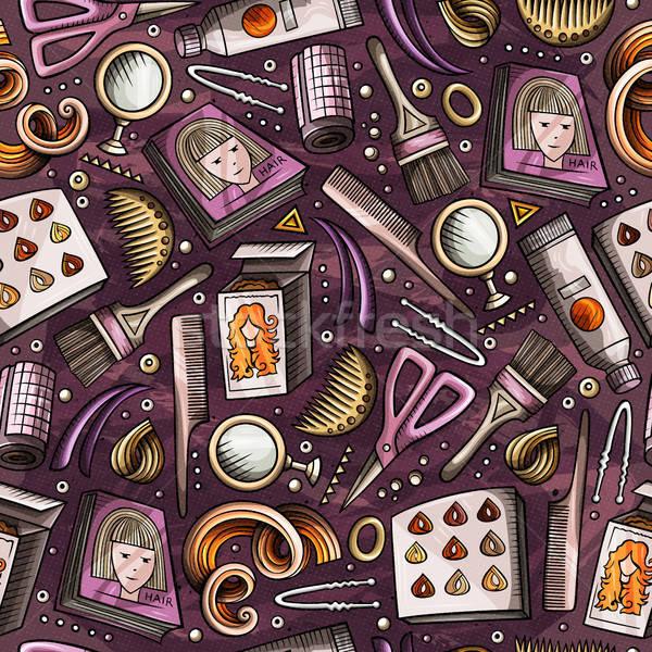 Cartoon hand-drawn Hair salon seamless pattern Stock photo © balabolka