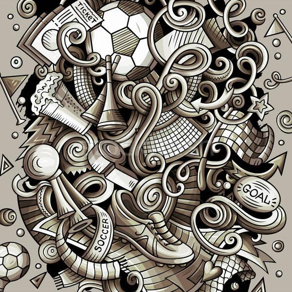 Cartoon vector doodles Football illustration Stock photo © balabolka