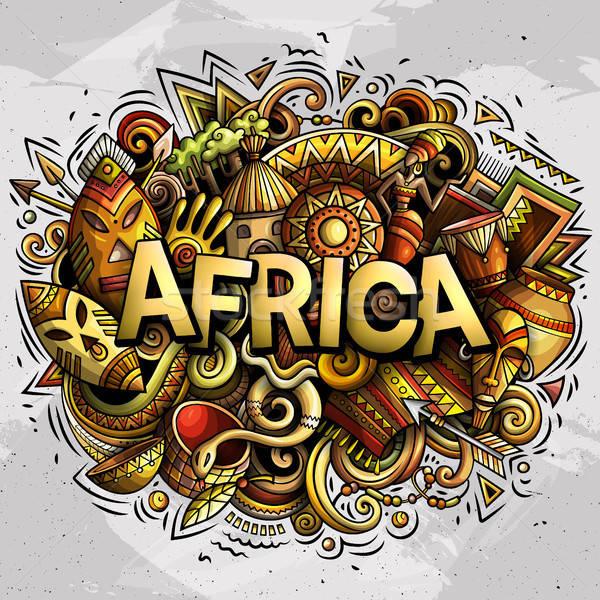 Cartoon cute doodles Africa word Stock photo © balabolka
