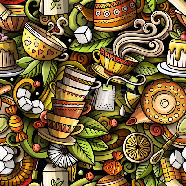 Rajz aranyos firkák kézzel rajzolt tea ház Stock fotó © balabolka