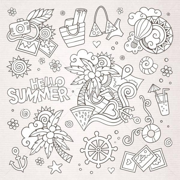 Yaz tatili semboller nesneler vektör çiçek Stok fotoğraf © balabolka