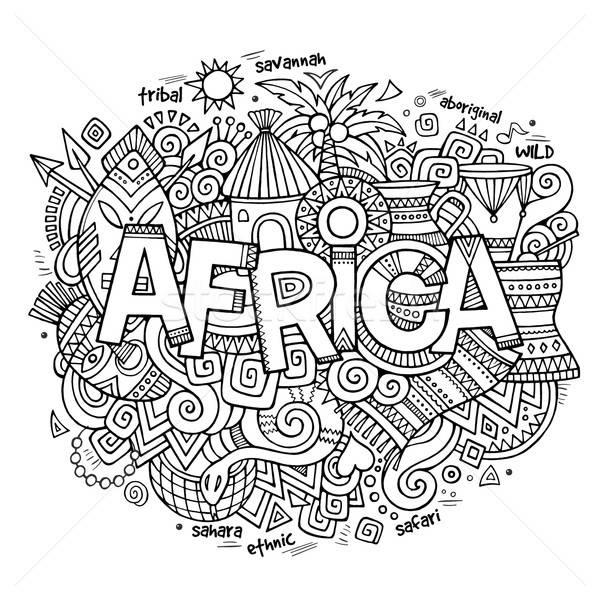 Africa etnica mano scarabocchi elementi simboli Foto d'archivio © balabolka