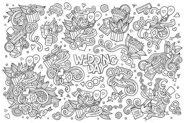 Wedding and love doodles sketchy vector symbols Stock photo © balabolka
