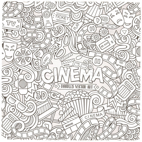 Cartoon vector hand-drawn Cinema Doodle frame. Sketchy design Stock photo © balabolka