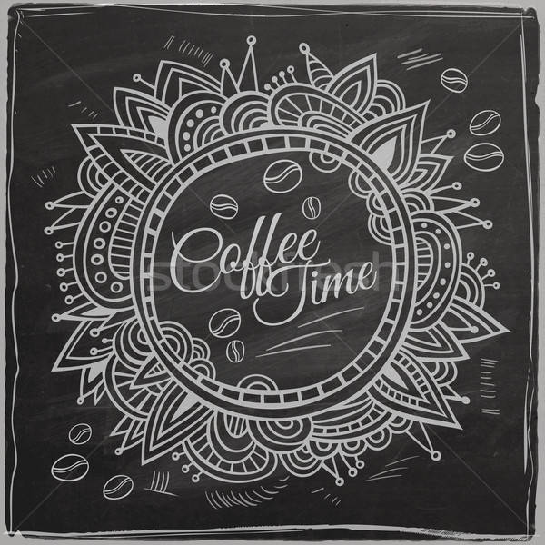 Coffee time decorative border. Background Chalkboard. Stock photo © balabolka