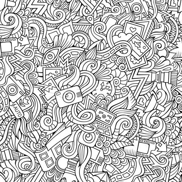 Cartoon hand-drawn doodles of photography  seamless pattern Stock photo © balabolka