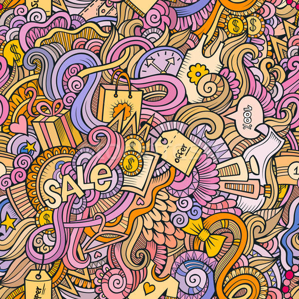 Stock photo: doodles hand drawn sale shopping seamless pattern