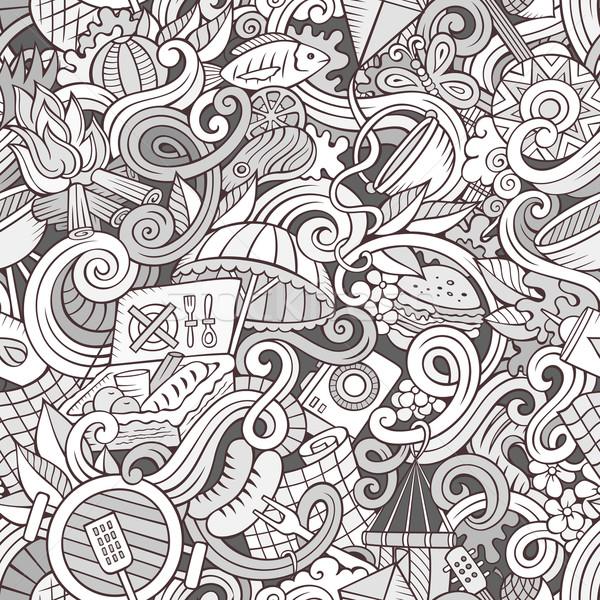Stock photo: Cartoon hand-drawn picnic doodles seamless pattern