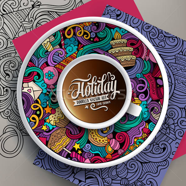 Vector illustration with a Cup of coffee and holidays doodles Stock photo © balabolka