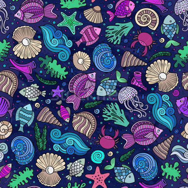 Stock photo: Cartoon under water life seamless pattern