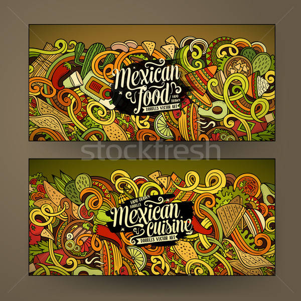 Cartoon comida mexicana garabatos banners colorido vector Foto stock © balabolka