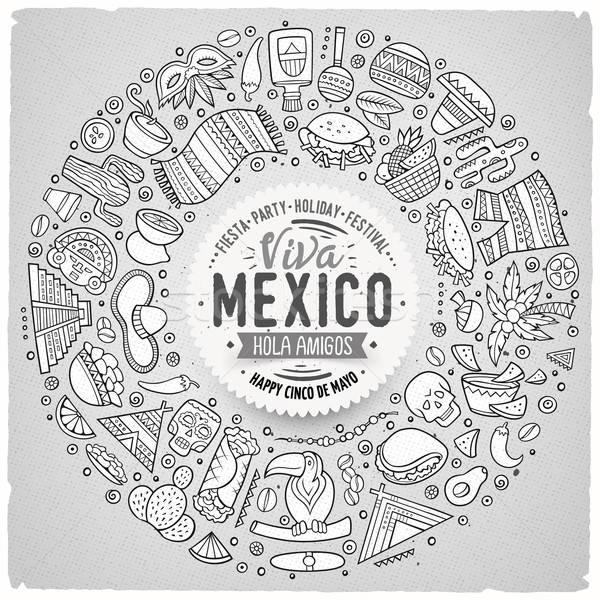 Set of Latin American cartoon doodle objects, symbols and items Stock photo © balabolka