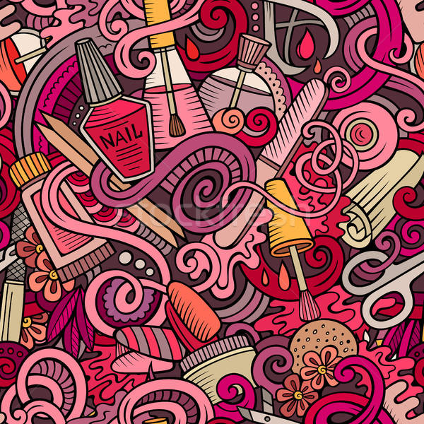 Stock fotó: Rajz · firkák · manikűr · végtelen · minta · aranyos · kézzel · rajzolt