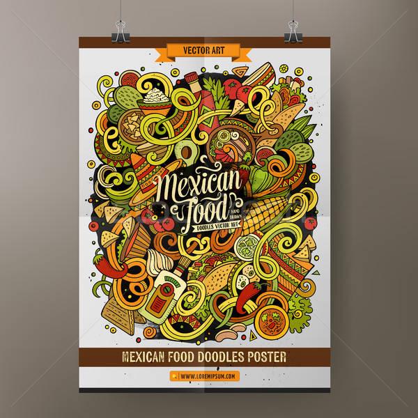 Cartoon dibujado a mano garabatos comida mexicana anunciante plantilla Foto stock © balabolka