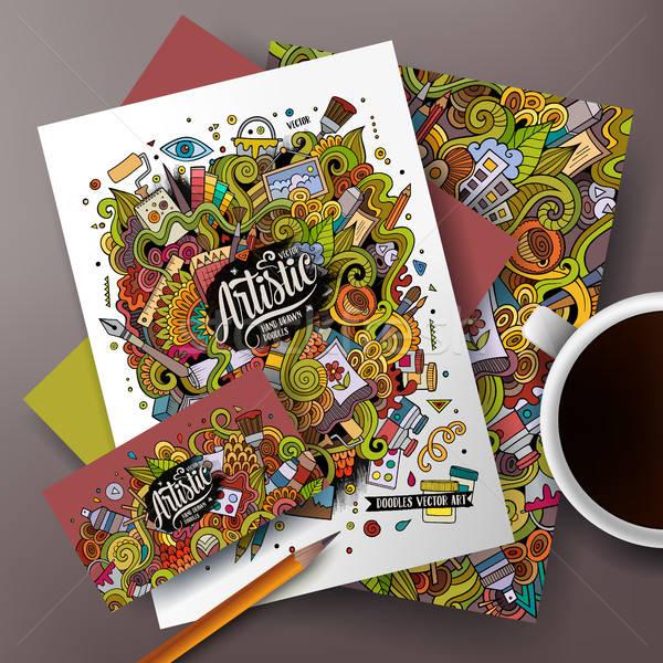 Cartoon art vector corporate identity set Stock photo © balabolka