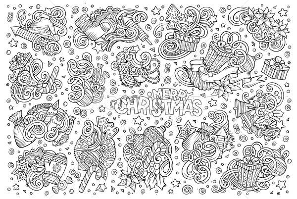 Doodle cartoon set of New Year and Christmas objects Stock photo © balabolka