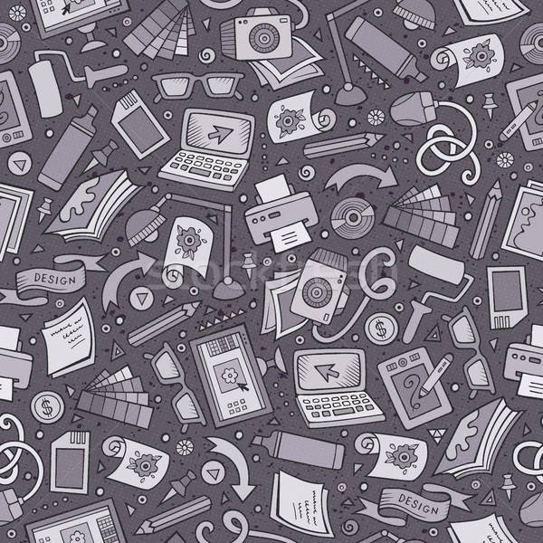 Stock photo: Cartoon cute hand drawn Design seamless pattern