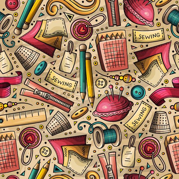 Cartoon cute handgemaakt kleurrijk Stockfoto © balabolka