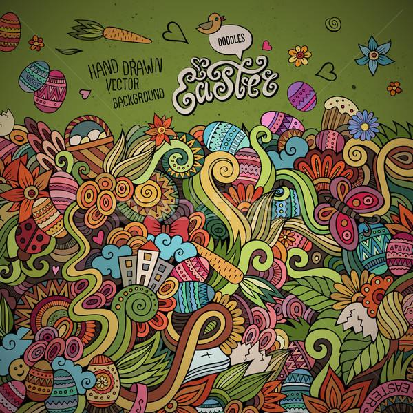 Paskalya vektör tebrik kartı dizayn karalamalar soyut Stok fotoğraf © balabolka