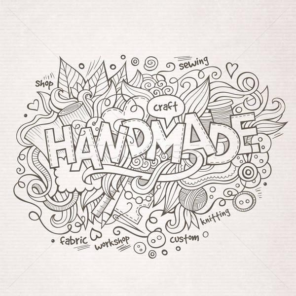 Kézzel készített kéz firkák elemek szín minta Stock fotó © balabolka