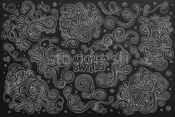Chalkboard Vector hand drawn Doodle cartoon set of curls and swirls  Stock photo © balabolka