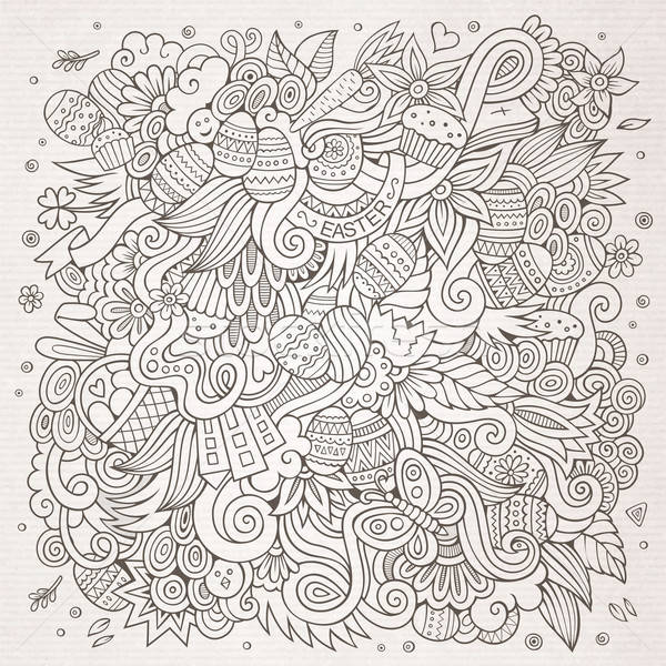 Wielkanoc wektora szkic cartoon bazgroły wzór Zdjęcia stock © balabolka