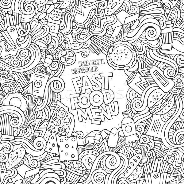 Fast food communie frame achtergrond kip Stockfoto © balabolka