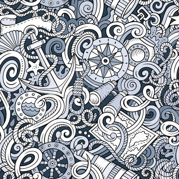 Cartoon hand-drawn nautical doodles seamless pattern Stock photo © balabolka