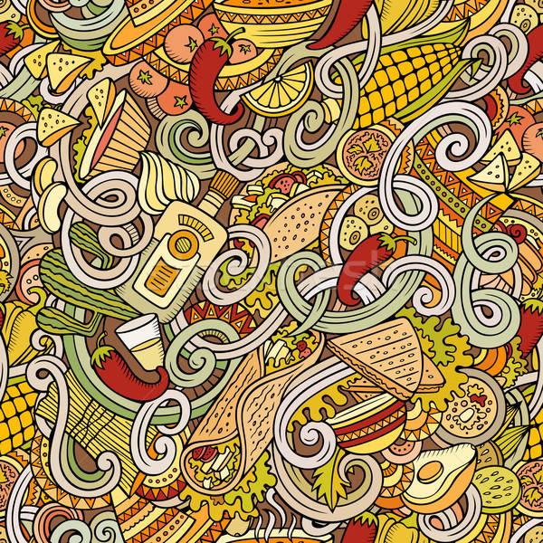 Cartoon comida mexicana garabatos detallado objetos Foto stock © balabolka