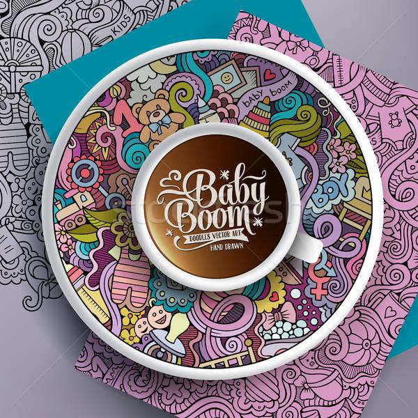 Кубок кофе ребенка блюдце рисованной Сток-фото © balabolka