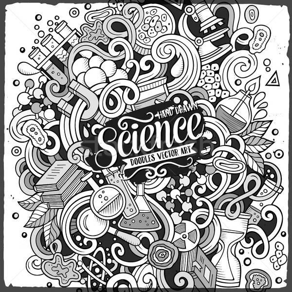 Foto stock: Cartoon · cute · garabatos · ciencia · ilustración · dibujado · a · mano