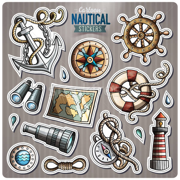 Set of Nautical vector cartoon stickers Stock photo © balabolka