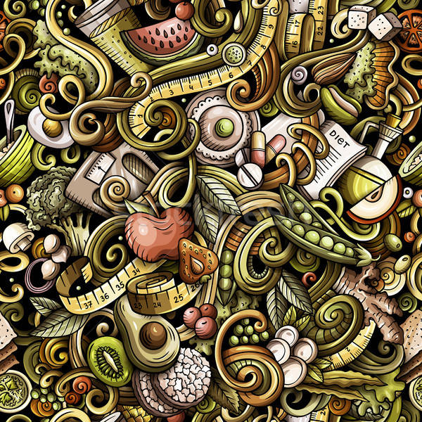 Cartoon cute scarabocchi dieta alimentare Foto d'archivio © balabolka
