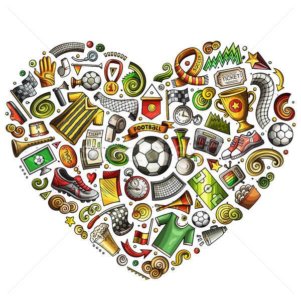 Set vettore cartoon doodle calcio oggetti Foto d'archivio © balabolka