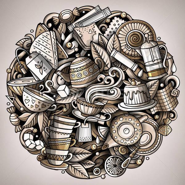 Rajz vektor firkák tea illusztráció monokróm Stock fotó © balabolka