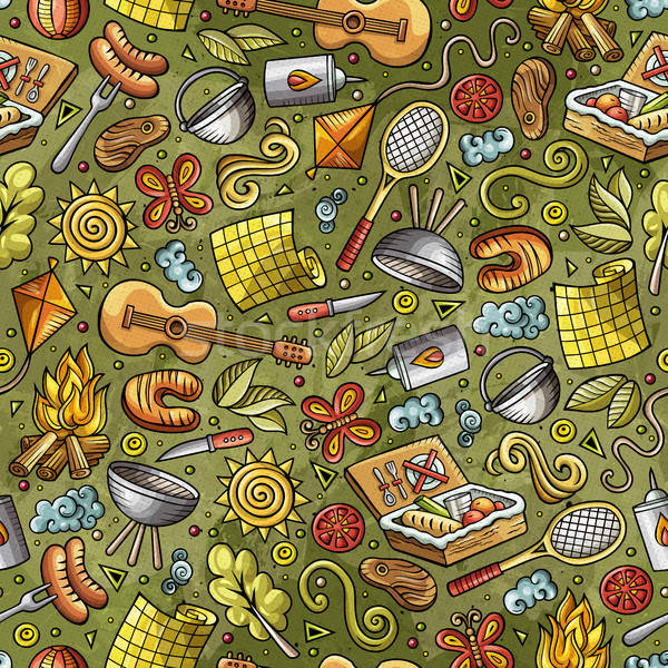 Stock photo: Cartoon cute hand drawn Picnic seamless pattern