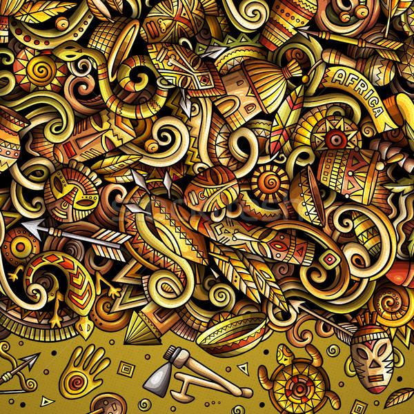 Karikatur Vektor Kritzeleien Afrika Rahmen Illustration Stock foto © balabolka