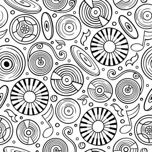 Rajz diszkó zene végtelen minta szimbólumok tárgyak Stock fotó © balabolka