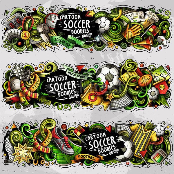 Stock photo: Cartoon vector doodles Football banners compositions