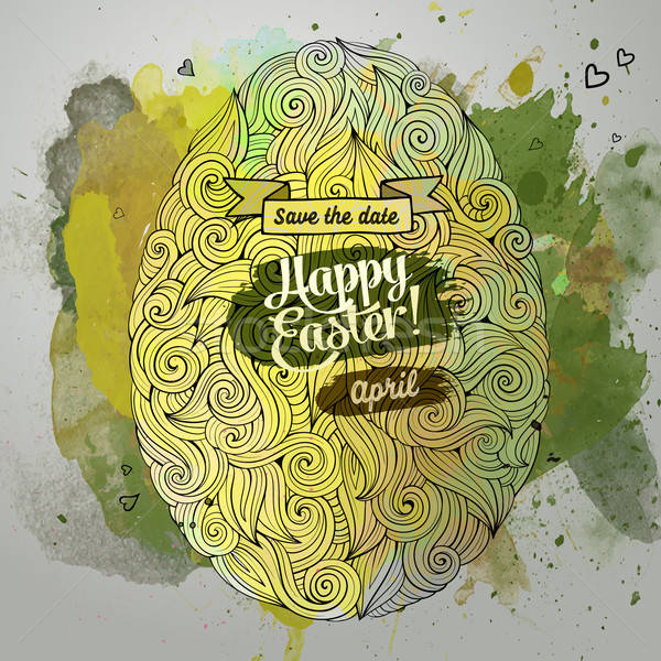 Stock photo: Easter ornamental egg watercolor art background